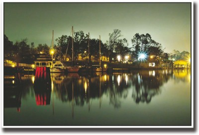 Athah Poster Ships docked night view Paper Print