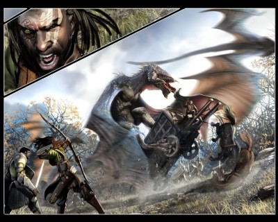 Ravine Battle Dragon Fantasy HD Wall Poster Paper Print