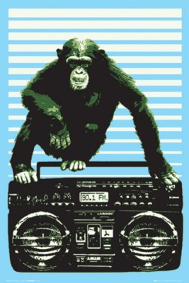 Steez Boombox and Monkey Paper Print