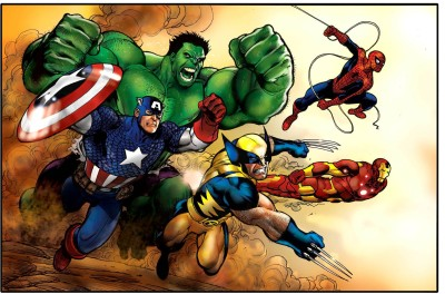 Marvel Captain America Hulk Wolverine Iron Man Spider-Man HD Wall Poster Paper Print