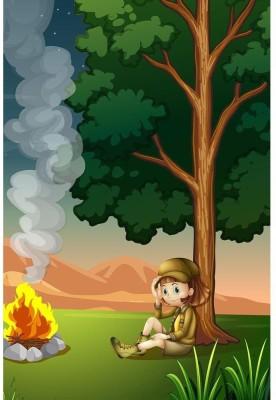 Two Explorers Making A Campfire Premium Poster Paper Print