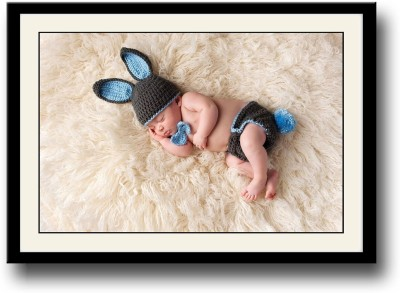 Cute baby sleeping in bunny clothes Fine Art Print