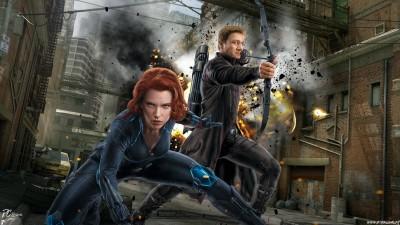 Movie Avengers: Age Of Ultron The Avengers Avengers Black Widow Hawkeye Fan Art Scarlett Johansson HD Wall Poster Paper Print