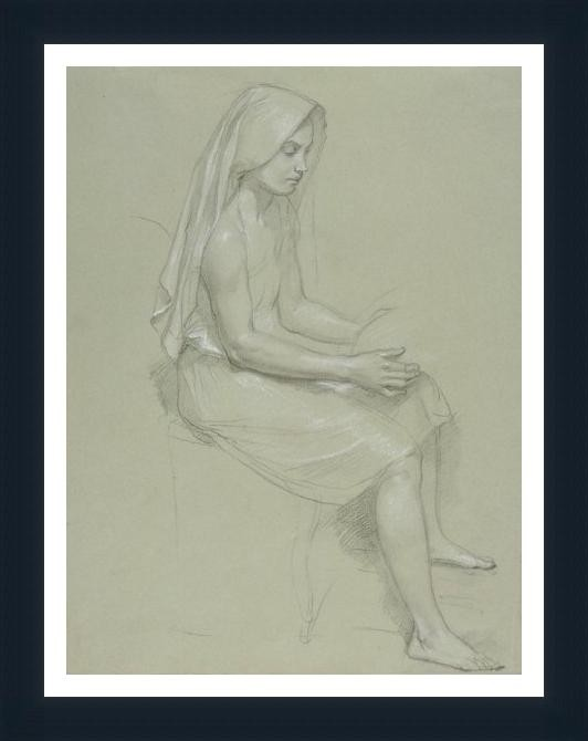 Study Of A Seated Veiled Female 19Th Century - ArtsNyou Printed Paintings Canvas Art