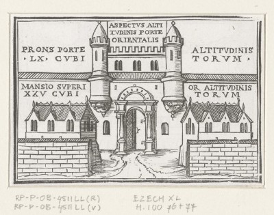 East gate of the new temple in Ezekiel's vision. 1538 (Medium) Paper Print