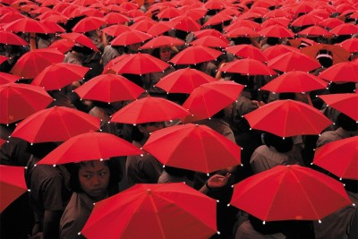 red umbrellas for decor romm wall Paper Print