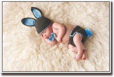 Athah Poster Cute baby sleeping in bunny clothes Paper Print