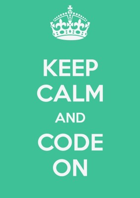 Athah Poster Keep Calm And Code On ! NON TEARABLE Paper Print Rolled In Cardboard Tube Paper Print