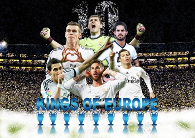Real Madrid Kings of Europe Poster Paper Print