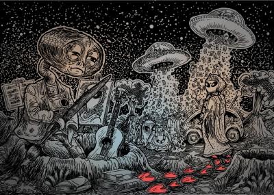The Sad Alien Paper Print