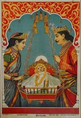 Shri Ram Janma Oleograph Paper Print