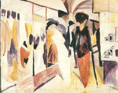 The Museum Outlet Fashion shop porch by August Macke - Print (24 x 18 Inch) Canvas Painting