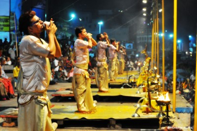 Ganga Arti | Laminated Poster | Large | 22 x 15.5 Photographic Paper
