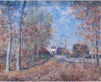 Tallenge Old Masters Collection - Un coin de bois aux Sablons by Alfred Sisley - Small Size Premium Quality Ready To Frame Rolled Canvas Painting