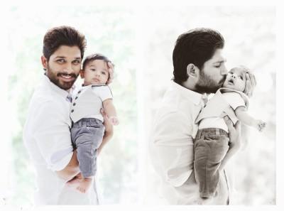 Allu Arjun with his Son Ayaan poster Paper Print