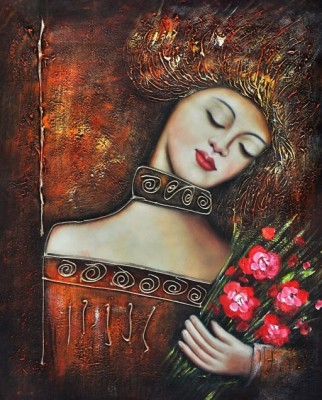 Mesleep Lady & Rose Canvas Pianting Without Frame Canvas Art