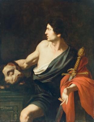 Framed David with the Head of Goliath by Pietro Novelli Italian Sicilian Fine Art Print