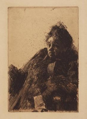 Anders Zorn - Madam Simon II (etching) 1891 (Medium) Paper Print
