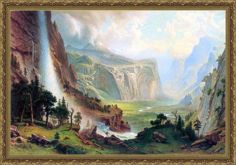 Half Dome In Yosemite By Bierstadt - ArtsNyou Printed Paintings Canvas Art
