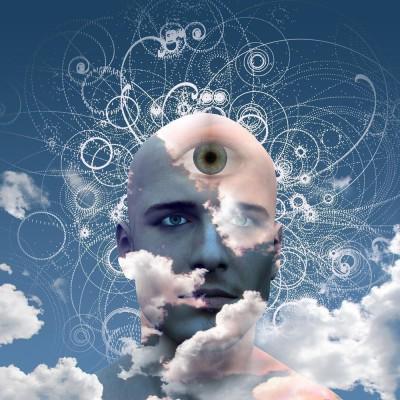 Eye On Cloud Mans Head Premium Poster Canvas Art