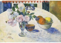 Tallenge Modern Masters Collection - Flowers and a Bowl of Fruit on a Table by Paul Gauguin - A3 Size Premium Quality Rolled Poster Paper Print