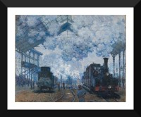 Tallenge Old Masters Collection - Saint Lazare Station In Paris, Arrival of a Train By Claude Monet - Premium Quality A3 Size Framed Poster Paper Prin