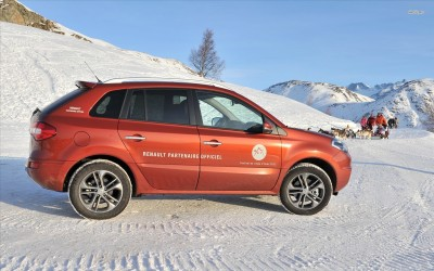 Athah Red Renault Scenic in snowy mountains Poster Paper Print