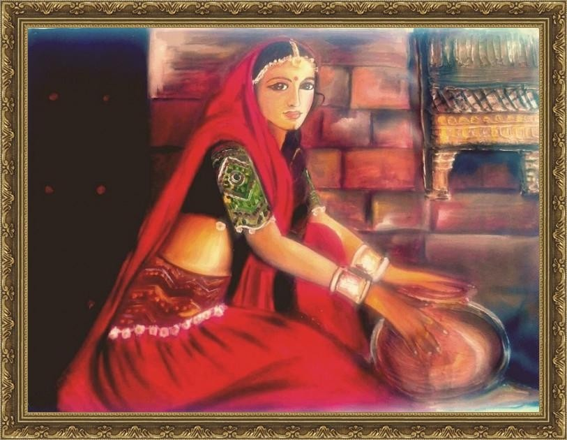 Lady Portrait Painting - ArtsNyou Printed Paintings Canvas Art