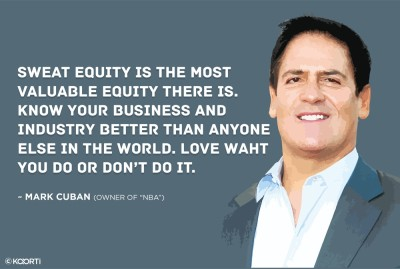 KAARTI Sweat Equity Is The Most Valuable Equity - Mark Cuban (Medium) Sticker Paper Print