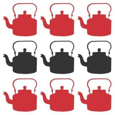 Athah Poster Masala Chai - Kitchen - Red Black Kettles Paper Print