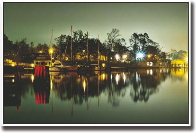 Athah Poster Ships docked night Paper Print