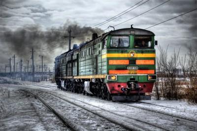 Travellers - Train In Winter Paper Print
