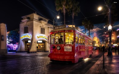 Athah Fine Quality Red tram in California poster Paper Print