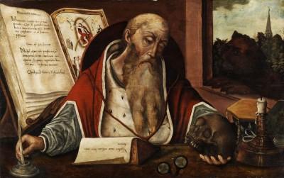 Follower Joos van Cleve. St. Jerome in his study (16 or 17 century) (Medium) Paper Print