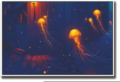 Posterhouzz Jellyfish artwork Fine Art Print