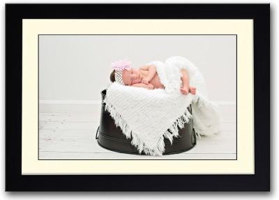 Baby Sleeping On Black Bucket Fine Art Print
