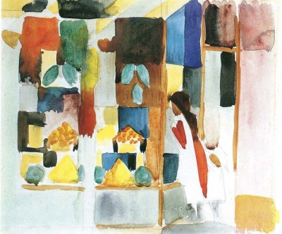 The Museum Outlet Children at the vegetable shop (I) by August Macke - Print (24 x 18 Inch) Canvas Painting
