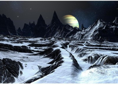 Track Over Twisted Surface On Alien Planet Premium Poster Canvas Art