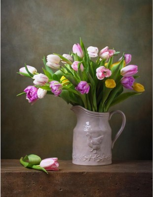 Still Life With Colorful Tulips Unframed Art Print Canvas Art