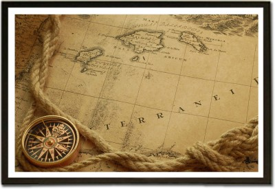 Framed Travel and Tourism Map and Compass Fine Art Print