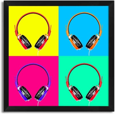 Seven Rays Headphones Music Pop Art Framed Poster Paper Print