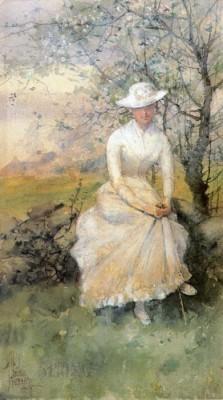 Spring (aka The Artist's Sister), 1885 (Medium) Paper Print