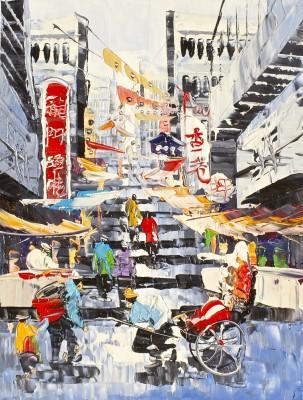 Handmade Oil Painting On Canvas- Busy Shanghai Canvas Art