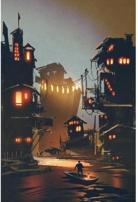 Man Stands On Boat Visiting Fantasy Village Premium Poster Canvas Art