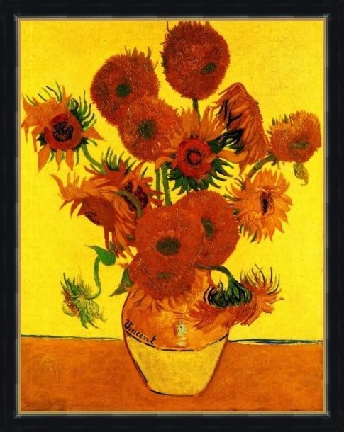 Still Life Vase With Fifteen Sunflowers3 - ArtsNyou Printed Paintings Canvas Art