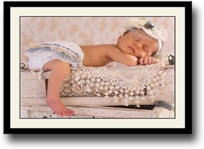 Baby sleeping on crates Fine Art Print(10 inch X 14 inch, Framed)