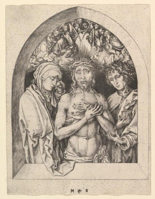 The Man of Sorrows with the Virgin Mary and St John the Evangelist (1470-1475) (Medium) Paper Print