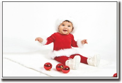 Athah Poster Baby in Christmas dress Paper Print