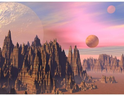 Landscape With High Sharp Rocky Mountains And Planets Premium Poster Canvas Art