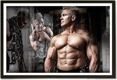 Framed Chained Mr. Perfect Body Builder Paper Print